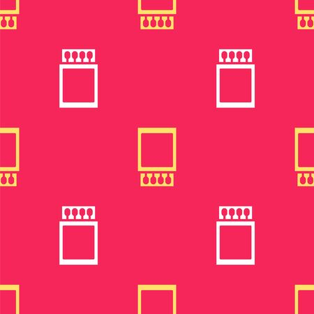 Yellow Open matchbox and matches icon isolated seamless pattern on red background. Vector Illustration