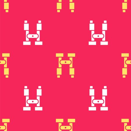 Yellow Binoculars icon isolated seamless pattern on red background. Find software sign. Spy equipment symbol. Vector Illustration