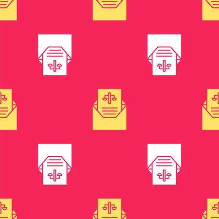 Yellow Subpoena icon isolated seamless pattern on red background. The arrest warrant, police report, subpoena. Justice concept. Vector Illustration. Illustration
