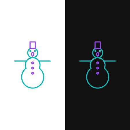 Line Christmas snowman icon isolated on white and black background. Merry Christmas and Happy New Year. Colorful outline concept. Vector. Ilustracja