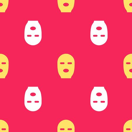 Yellow Thief mask icon isolated seamless pattern on red background. Bandit mask, criminal man. Vector Illustration.