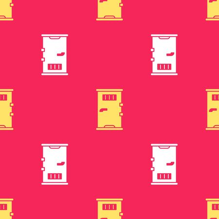 Yellow Prison cell door with grill window icon isolated seamless pattern on red background. Vector Illustration. Stock Illustratie