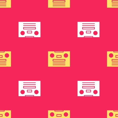 Yellow Retro audio cassette tape icon isolated seamless pattern on red background. Vector Illustration.