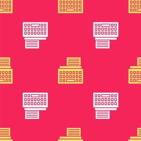 Yellow Retro typewriter and paper sheet icon isolated seamless pattern on red background. Vector Illustration.