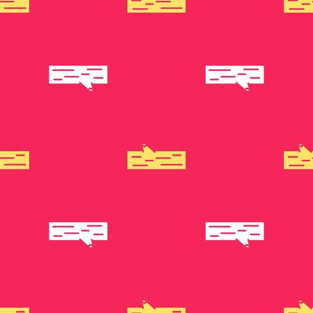 Yellow Wooden log icon isolated seamless pattern on red background. Vector Illustration