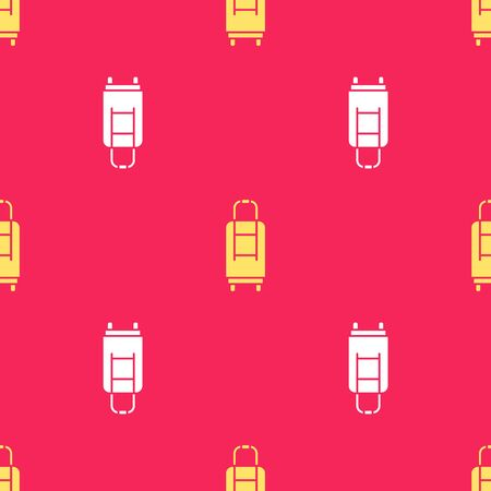 Yellow Suitcase for travel icon isolated seamless pattern on red background. Traveling baggage sign. Travel luggage icon. Vector Illustration