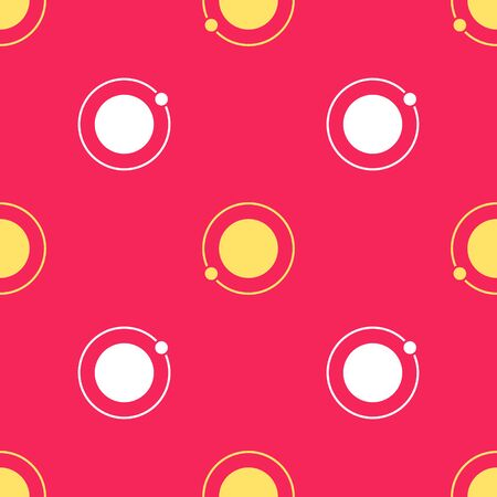 Yellow Artificial satellites orbiting the planet Earth in outer space icon isolated seamless pattern on red background. Communication, navigation concept. Vector Illustration