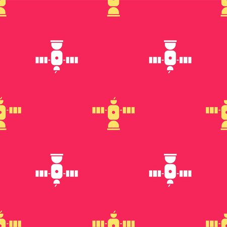 Yellow Satellite icon isolated seamless pattern on red background. Vector Illustration