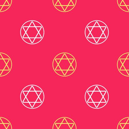 Yellow Star of David icon isolated seamless pattern on red background. Jewish religion symbol. Symbol of Israel. Vector Illustration.
