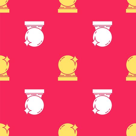 Yellow Magic ball icon isolated seamless pattern on red background. Crystal ball. Vector Illustration