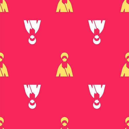 Yellow Jesus Christ icon isolated seamless pattern on red background. Vector Illustration