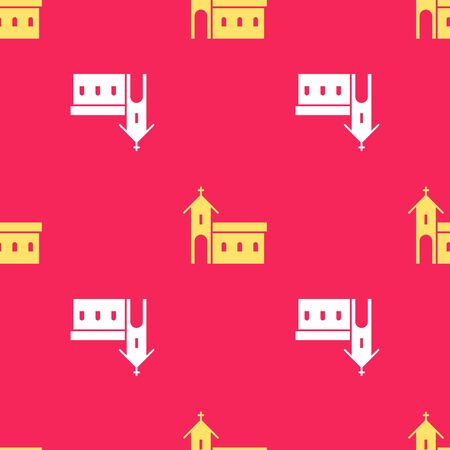Yellow Church building icon isolated seamless pattern on red background. Christian Church. Religion of church. Vector Illustration