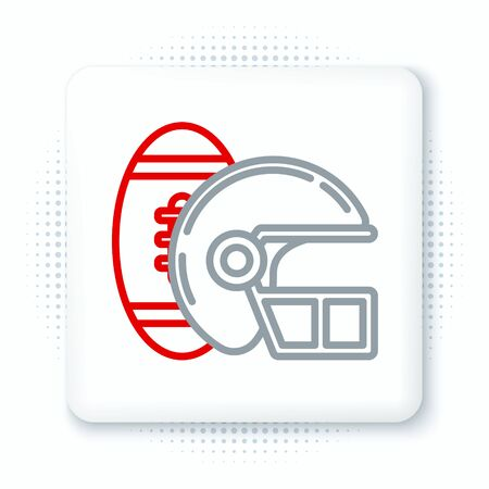Line American Football ball and helmet icon isolated on white background. Set of sport equipment. Colorful outline concept. Vector