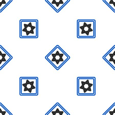 Line Star of David icon isolated seamless pattern on white background. Jewish religion symbol. Symbol of Israel. Colorful outline concept. Vector