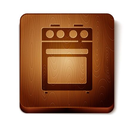 Brown Oven icon isolated on white background. Stove gas oven sign. Wooden square button. Vector.