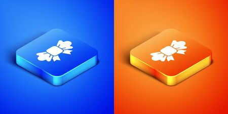 Isometric Bow tie icon isolated on blue and orange background. Square button. Vector Foto de archivo - 149939350