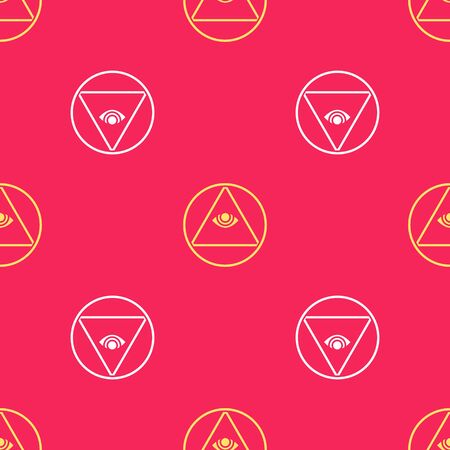 Yellow Masons symbol All-seeing eye of God icon isolated seamless pattern on red background. The eye of Providence in the triangle. Vector Illustration