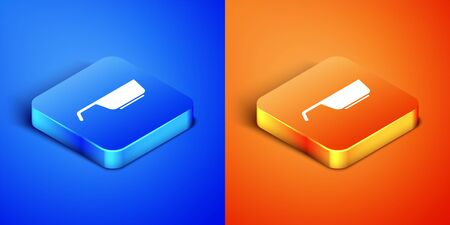 Isometric Frying pan icon isolated on blue and orange background. Fry or roast food symbol. Square button. Vector