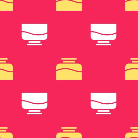 Yellow Inkwell icon isolated seamless pattern on red background. Vector Illustration