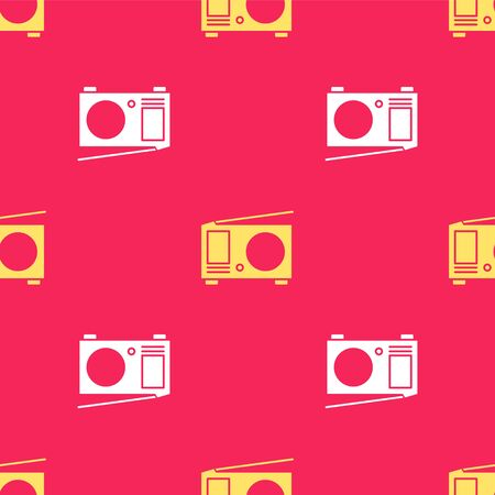 Yellow Radio with antenna icon isolated seamless pattern on red background. Vector Illustration
