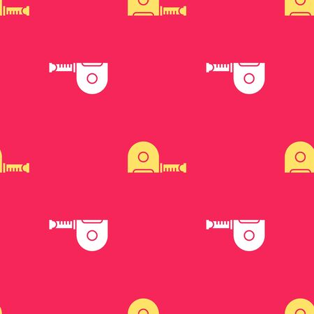 Yellow Roulette construction icon isolated seamless pattern on red background. Tape measure symbol. Vector Illustration. Stock Illustratie