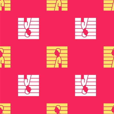 Yellow Suspect criminal icon isolated seamless pattern on red background. The criminal in prison, suspected near the board. Vector Illustration Illustration