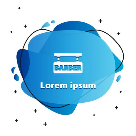 White Barbershop icon isolated on white background. Hairdresser  signboard. Abstract banner with liquid shapes. Vector Illustration