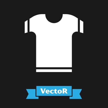 White T-shirt icon isolated on black background. Vector Illustration Illustration