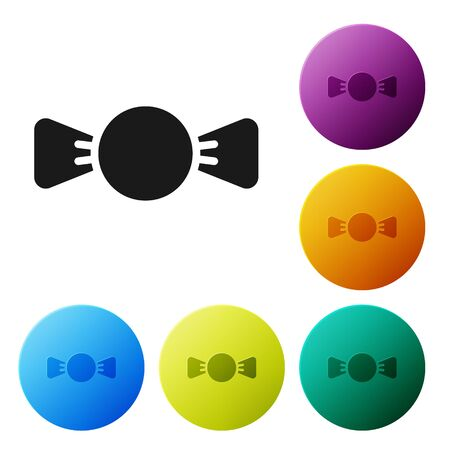 Black Bow tie icon isolated on white background. Set icons in color circle buttons. Vector. Foto de archivo - 149939534