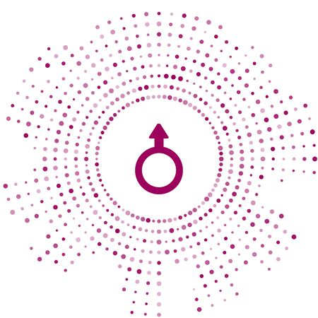 Purple Male gender symbol icon isolated on white background. Abstract circle random dots. Vector.