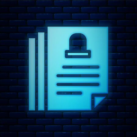Glowing neon Death certificate icon isolated on brick wall background. Vector.