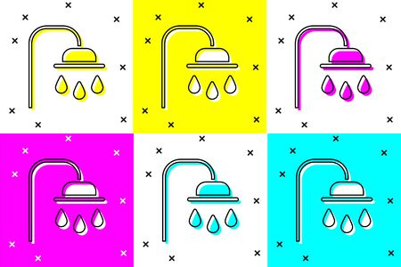 Set Shower head with water drops flowing icon isolated on color background. Vector Illustration. Illustration
