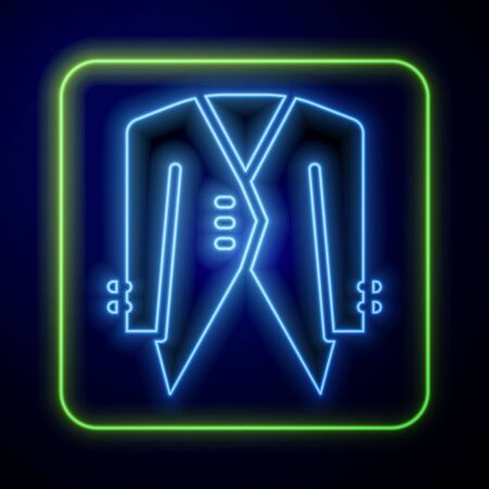 Glowing neon Suit icon isolated on blue background. Tuxedo. Wedding suits with necktie. Vector. Foto de archivo - 149937572