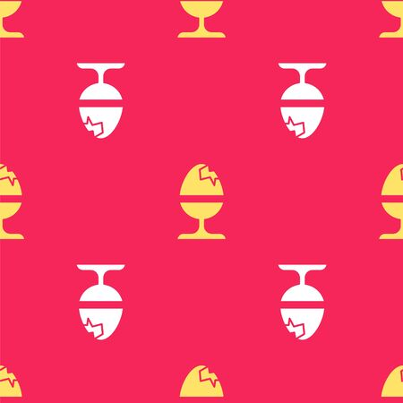 Yellow Chicken egg on a stand icon isolated seamless pattern on red background. Happy Easter. Vector Illustration