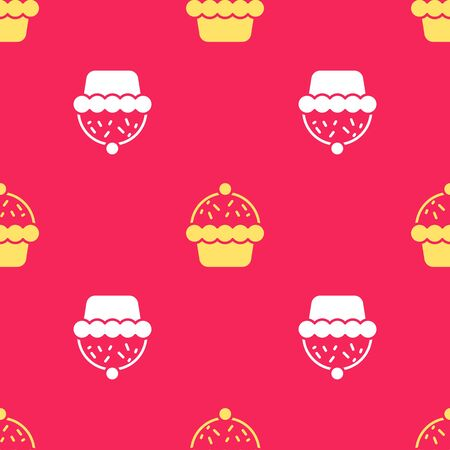 Yellow Cupcake icon isolated seamless pattern on red background. Vector Ilustracja