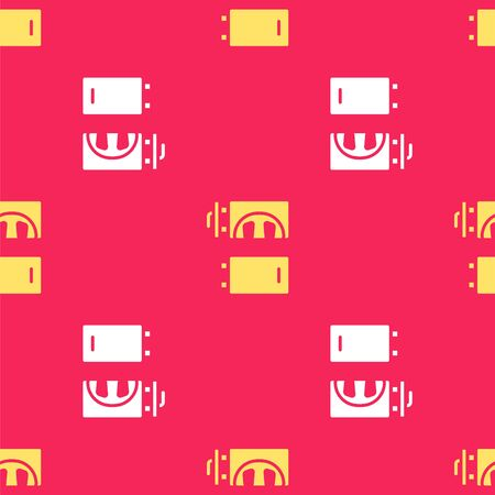Yellow Crematorium icon isolated seamless pattern on red background. Vector.