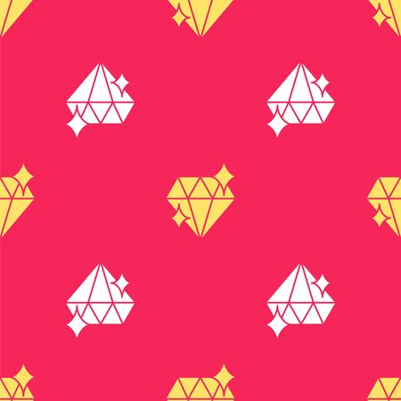 Yellow Diamond icon isolated seamless pattern on red background. Jewelry symbol. Gem stone. 8 March. International Happy Women Day. Vector Illustration