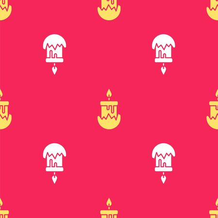 Yellow Burning candle in candlestick icon isolated seamless pattern on red background. Cylindrical candle stick with burning flame. Vector Illustration