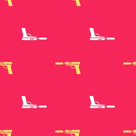 Yellow Pistol or gun with silencer icon isolated seamless pattern on red background. Vector Illustration Ilustração