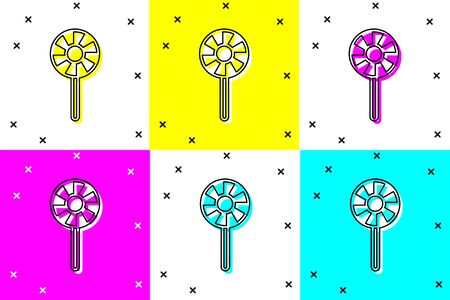 Set Lollipop icon isolated on color background. Candy sign. Food, delicious symbol. Vector Ilustracja