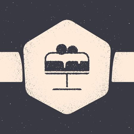 Grunge Cake on plate icon isolated on grey background. Happy Birthday. Monochrome vintage drawing. Vector
