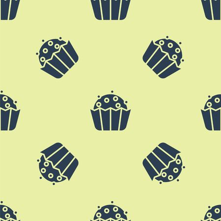 Blue Cupcake icon isolated seamless pattern on yellow background. Vector Ilustracja