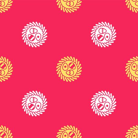Yellow Easter egg in a wicker nest icon isolated seamless pattern on red background. Happy Easter. Vector Illustration