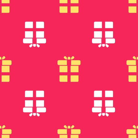 Yellow Gift box icon isolated seamless pattern on red background. Vector Illustration