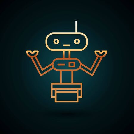 Gold line Robot icon isolated on dark blue background.  Vector Illustration. Illustration