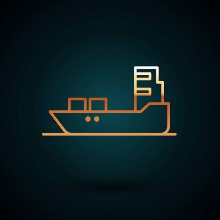 Gold line Oil tanker ship icon isolated on dark blue background.  Vector Illustration. Stock Illustratie