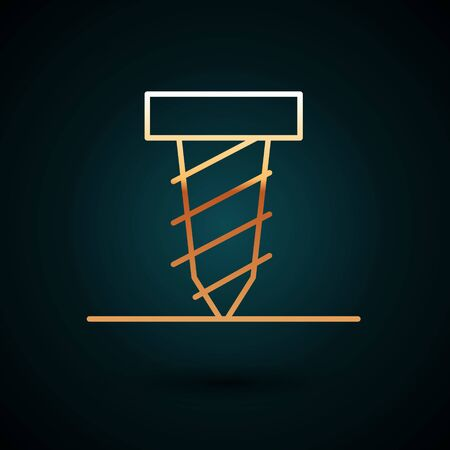 Gold line Rotating drill digging a hole in a ground icon isolated on dark blue background.  Vector Illustration.
