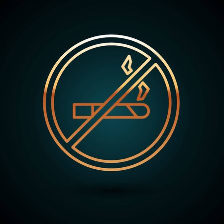 Gold line No Smoking icon isolated on dark blue background. Cigarette symbol.  Vector Illustration.