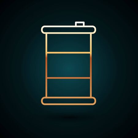 Gold line Barrel oil icon isolated on dark blue background.  Vector Illustration.