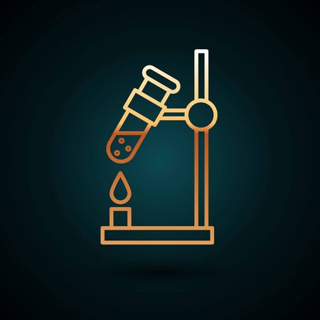 Gold line Glass test tube flask on fire heater experiment icon isolated on dark blue background. Laboratory equipment.  Vector Illustration.